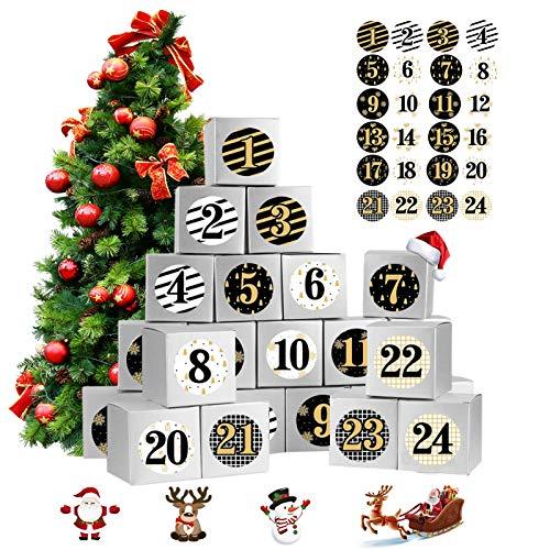 Adventskalender zum Befüllen, 24 Adventskalender Geschenkbox, mit Zahlenaufklebern, Weihnachtskalender Bastelset für Weihnachts Kindergeburtstag Hochzeiten (Silber)