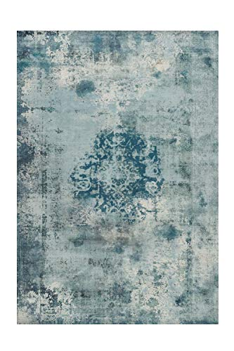 One Couture Arte Espina Teppich Vintage Oriental Muster Design Aubousson Türkis Blau Grau, Größe:200cm x 290cm MD2-430, Petrol