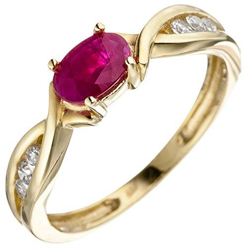 JOBO Damen-Ring aus 333 Gold mit Rubin und Zirkonia Größe 52