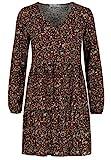 Sublevel Damen Kleid mit Blumen-Muster Langarm Herbst Frühling Black M/L