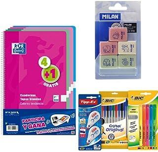 Oxford 400072719 - Pack de 5 Cuadernos + Milan BMM9222 - Pack de 5 gomas + BIC 942147 - Estuche con 10 bolígrafos, 5 marcadores y 2 correctores