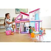 Barbie Malibu, casa de muñecas de dos pisos plegable con muebles y accesorios, multicolor, única (Mattel FXG57)