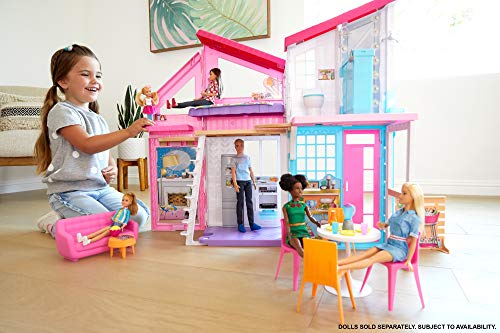 Barbie Malibu, casa de muñecas de dos pisos plegable con