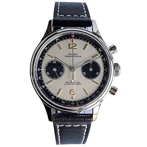 SUGESS 腕時計 クロノグラフ 機械式 アナログ 腕時計メンズ パンダダイアル パイロット 牛革ベルト 高級 シースルーバック オシャレ 人気 Swan Neck Regulator 38mm(クリームA)
