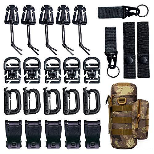 Linhbo Taktische Gear Clip für Molle-Tasche, Rucksack-Befestigung, Clip Gurt-Set geeignet für Wandern, Reisen und andere Outdoor-Aktivitäten (verpackt in taktischer Flaschentasche)