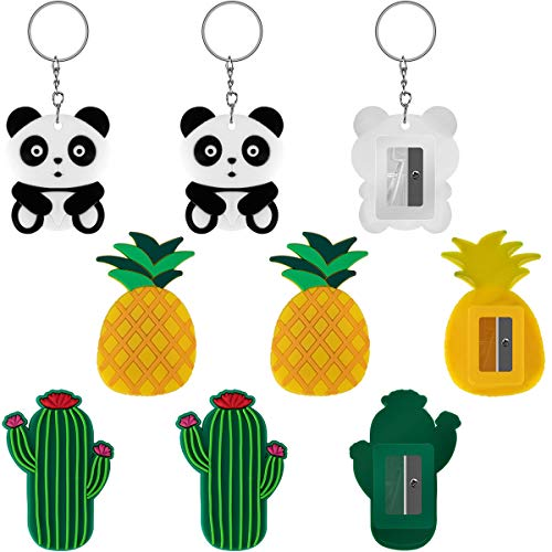 APIPI 9 Pcs Pineapple Panda Cactus Creative Cartoon Animals Plastic Pencil Sharpener with Key Ring, Stationery Prize for School, Office, Home