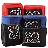 RIVAL Boxing Traditional Cotton Handwraps - 180 in. - Black