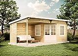 CARLSSON Alpholz Gartenhaus Carl-28 aus Massiv-Holz | Gerätehaus mit 28 mm Wandstärke | Garten Holzhaus inklusive Montagematerial | Geräteschuppen Größe: 598 x 300 cm | Pultdach