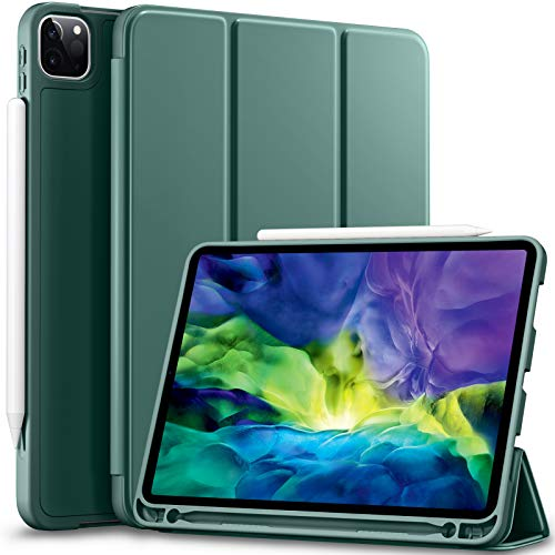 Vobafe Case Compatible with iPad Pro 11 2020/2018, TPU Protective Case Cover with Pencil Holder for iPad Pro 11 Inch 2020, Support 2nd Gen Pencil, Auto Wake/Sleep, Full Protection, Pine Green