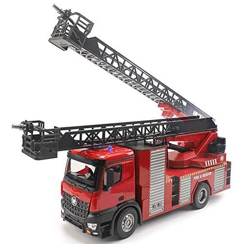LIZHOUMIL Camion pompieri radiocomandato grande scala di sollevamento elettrico per camion dei pompieri irrigatore telecomandato con luce sonora per adulti e bambini da 8 anni in su