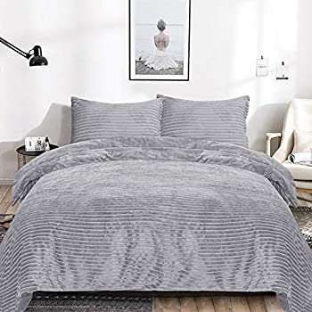 EMME King Duvet Cover Set Velvet Flannel 3 Pieces Reversible Bed Blanket Fashion Striped Comforter Cover Set with Button Closure Luxury Soft Bedding Set Plush and Warm for Winter Solid Grey,King