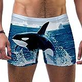 FHJRTHYE5TYG Hombres Orca Killer Ballena Ballena Pez Océano Trajes de baño Bañador Shorts Atletismo Bóxer Calzoncillos Boardshorts, multicolor, S