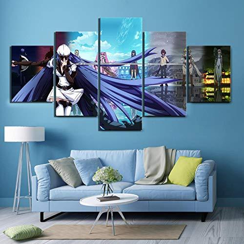 YBYBYB 5 pinturas de arte de parede em tela, arte grande, sem moldura, pôster de pintura, arte de parede, 5 painéis Akame Ga Kill Animation Canvas Pictures Home Background para decoração de sala de estar DDZZYY