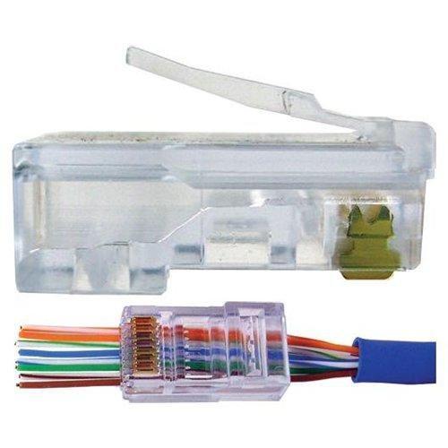 UbiGear 100 Pcs CAT5e RJ45 Pass-Through Network Cable Modular Plug 8P8C Gold-Plated Connector End