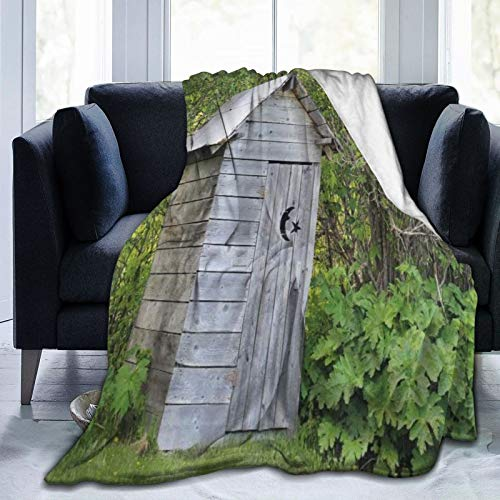 YCHY Ultra Soft Fleece Throw Blanket Outhouse Vintage Farm Life Cottage Barn Shed in Forest Trees Leaves Picture King (104' X 78') Warm Fuzzy Blankets for The Bed Sofa Lightweight