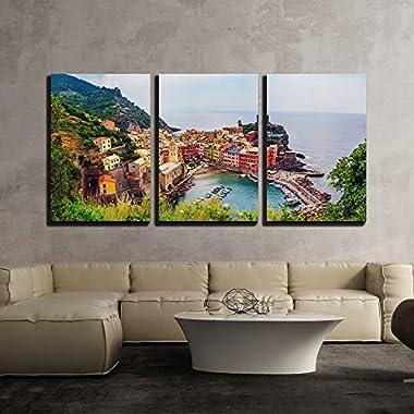 wall26 - Vernazza in Cinque Terre Italy - Canvas Art Wall Decor-16 x24 x3 Panels
