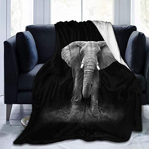 KINGAM Manta de elefante de girasol, manta de forro polar súper suave, acogedora y reversible, tamaño para bebé y adultos, sofá de 50 x 60 pulgadas, color negro