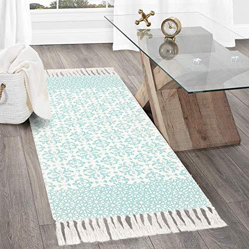 SHACOS Baumwollteppich mit Quasten Teppich Gewebt Baumwolle Marokkanische Retro Teppich Wohnzimmer Waschbar Weiß Teppich für Wohnzimmer Schlafzimmer Badezimmer Eingang 60x130 cm