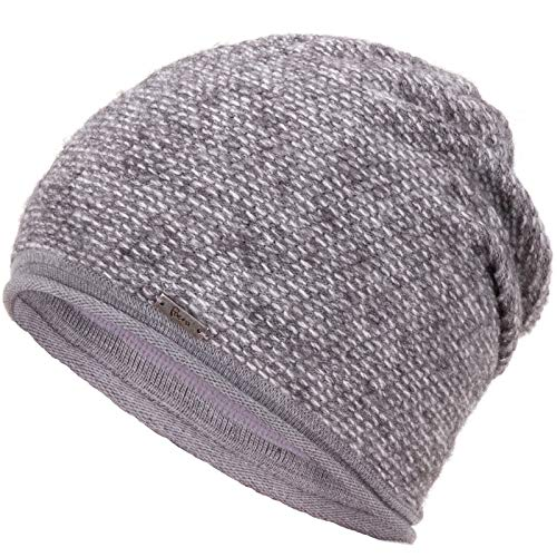 Faera Wintermütze warm gefütterte Winter-Mütze Fleece-Futter Winter Strick-Mütze Beanie-Mütze Damen Herren One-Size, Farbe:Hellgrau
