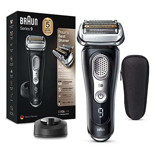 Braun Series 9 Premium Rasierer Herren mit 4+1 Scherkopf, Elektrorasierer & Trimmer für Präzision, Ladestation, Li-Ionen-Akku 60 min, Wet & Dry, 9375cc, schwarz