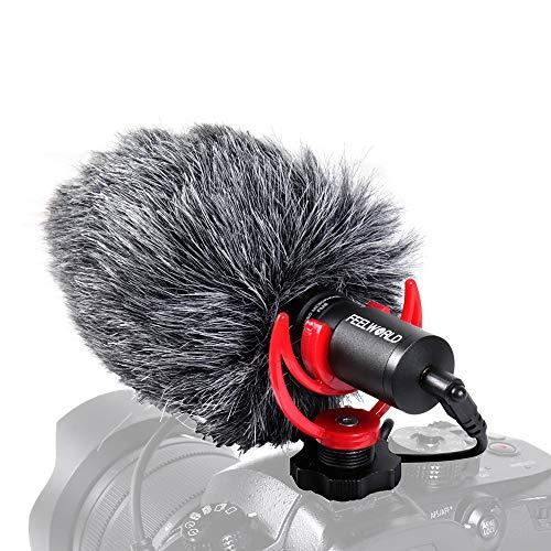 FEELWORLD Cámaras Micrófono Video Shotgun Microphone Compatible para Sony/Canon/Nikon/Pentax DSLR Videocámaras Mac Tablet iPhone/Android Smartphones, Recording Youtube/Interview