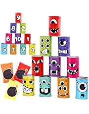 JOYIN 13 Pcs Carnival Bean Bag Toss Knockdown Can Game Set for Kids & Adults Holiday Outdoor Yard Easter Egg Hunt Halloween Birthday Party Games, Carnival Games