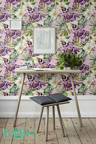Frangipani et Lily fleur papier peint - Frangipanier - Papier Peint amovible sticker mural Frangipanier - Frangipanier et Lily Autocollant Papier Peint, 53 Cm wide by 243 Cm Tall