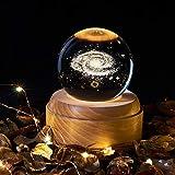 OurLeeme Kristallkugel-Spieluhr, leuchtend, drehbare Spieluhr, Nachtlicht, Projektion, LED-Licht mit Holzsockel, für Geburtstag, Valentinstag, Geschenk