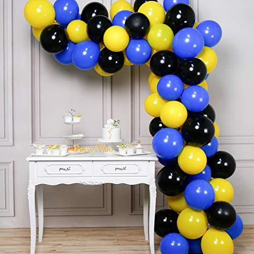 PartyWoo Ballon Gelb Schwarz Blau, 80 Stück 12 Zoll Luftballons Gelb, Luftballons Blau, Luftballons Schwarz, Luftballons Batman, Ballon Gelb Schwarz für Batman Party, Pokemon Party, Minions Party