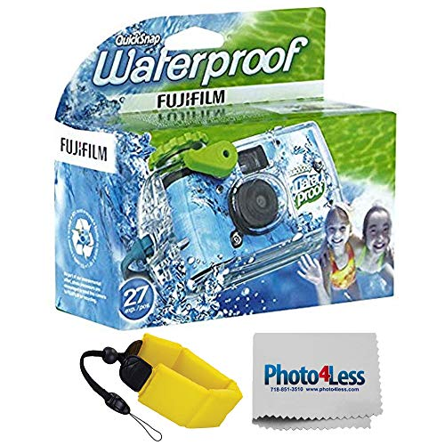 Fujifilm Quick Snap Waterproof 35mm Single Use Camera | Floating Foam Strap (Yellow)