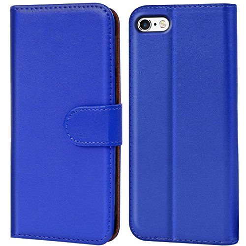 Verco iPhone 8 Hülle, Handyhülle für Apple iPhone 7, iPhone SE 2 (2020) Tasche PU Leder Flip Hülle Brieftasche - Blau