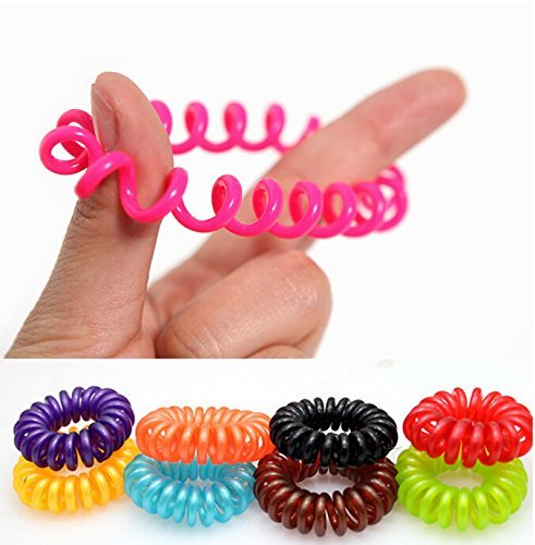 Caoutchouc de cheveux (spirale plastique), cordon téléphonique, élastique, bijoux de cheveux dans les 10 packs