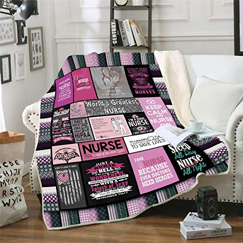 Ultra Soft Nurse Theme Blanket Microfiber Plush Sherpa Blanket Gifts for Women Nurses Warm Cozy Fuzzy Throw Blanket for Bed and Couch (Nurse Blanket04, 130cm x 150cm(51'' x 59''))