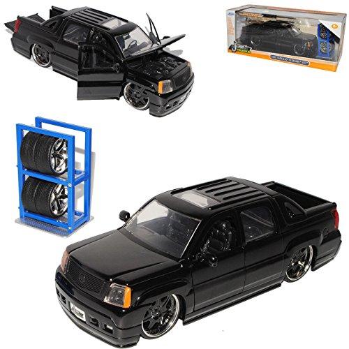 Cadilac Escalade EXT Pickup Schwarz 8 Fach bereift 2002 Tuning 1/24 Jada Modell Auto mit individiuellem Wunschkennzeichen