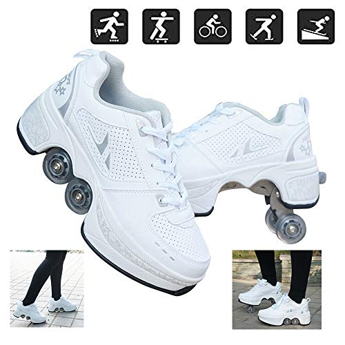 N.Y.L.A. Automatic Walking Shoes Outdoor Recreation Roller Skates Shoes Invisible Double-Row Deform Wheel Shoes for Adult Children's Best Gift