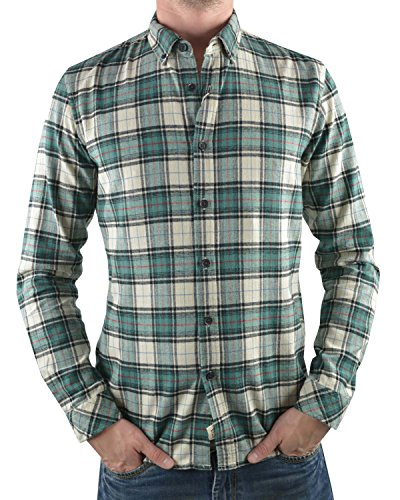 Tom Tailor Denim Herringbone Checked shirt/510 Chemise Casual, Vert (Dusty Smoke Green 7519), Large (Taille Fabricant: L) Homme