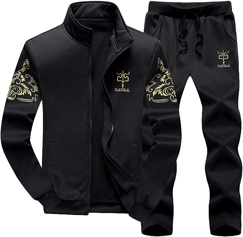 Lavnis Men's 2 Pieces Tracksuits Running Jogging Sports Suits Athletic Long Sleeve Sweatsuit: Clothing