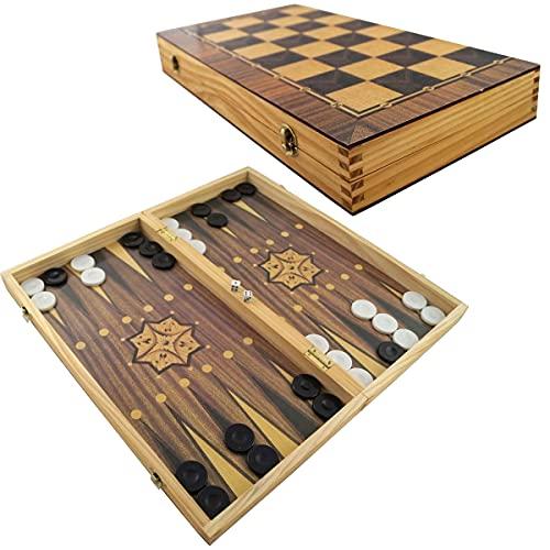 PrimoLiving Juego de ajedrez de madera con figuras de ajedrez (40 x 40 cm) P-14219