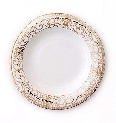 CRU by Darbie Angell Athena 24Kt Serving Bowl, Gold/White