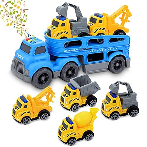 Fivejoy 4+1 Camión de Juguete para Niños, Vehículo de Construcciones, Camiones de Juguete, Juguete Excavadora con Luces y Sonido, Regalos de Cumpleaños y Fiesta para Niños