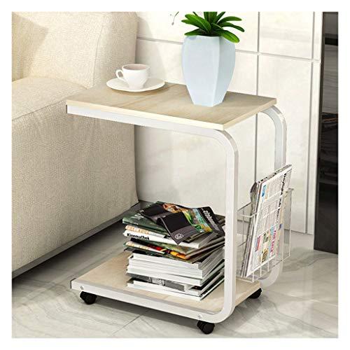 LDG Laptop-tafel, mobiele sofa, koffie aan de zijkant, salontafel, laptopstandaard, wieltjes, opbergwagen