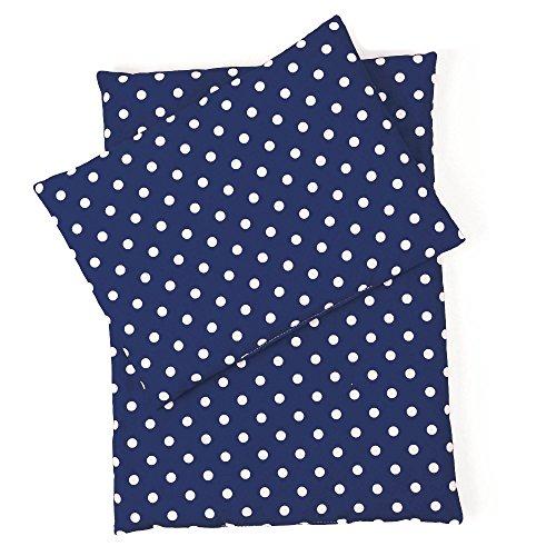 Sugarapple Little Puppenbettwäsche 3-teilig für Puppen Größe 36 cm - 44 cm, Öko Tex Standard, (dunkelblau Pünktchen weiß)