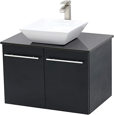 Amazon Com Windbay Wall Mount Floating Bathroom Vanity Sink Set Black Vanity Black Flat Stone Countertop Ceramic Sink 36 Kitchen Dining