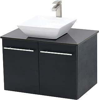 WindBay Wall Mount Floating Bathroom Vanity Sink Set. Black Vanity, Black Flat Stone Countertop Ceramic Sink - 24