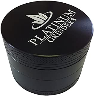Platinum Grinders Herb Grinder with Pollen Catcher - Large 2.5 Inch 4 Piece, Black Aluminum