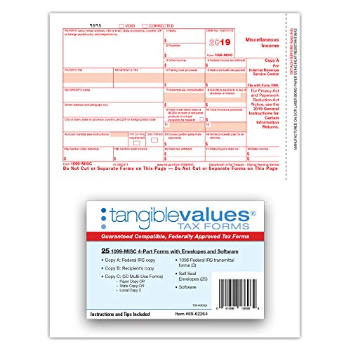 1099 Misc Tax Forms 2019 - Tangible Values 4-Part Kit with Envelopes - TPF Software Included, 25 Pack Photo #5