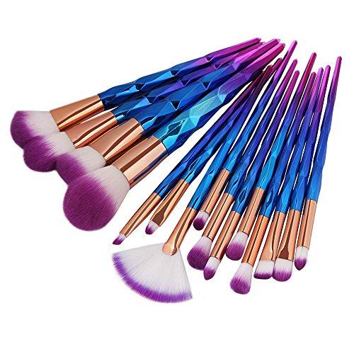 Nourich Pinceaux Maquillages Professionnels Kit de 15pcs, Multicolore Pinceaux de maquillage Beauté Cosmétique Fond de teint Mélange Blush Make Up Brosse Outil Kit Ensemble (A)