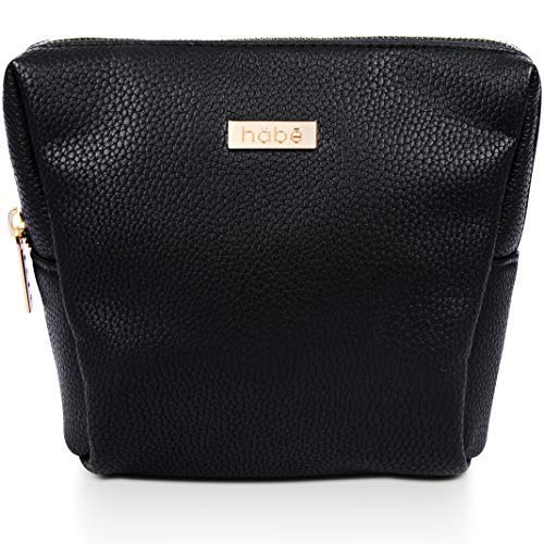 afd91583a2 habe PETITE Makeup Bag – 7x6x3 – Vegan Leather Small Cosmetic Bag –  Gorgeous Detailing –