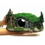 MJSHA Acuario Decora la casa Hobbit, Adornos para peceras, rocalla Artificial con Plantas de Agua Artificiales (11,2 x 7 x 5,9 Pulgadas)