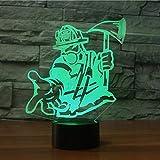 Feuerwehrmann 3d Tischlampe USB-Schnittstelle Energiesparende LED-Farbverlauf...